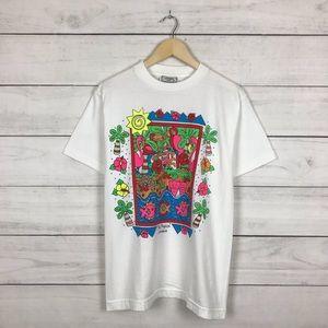 "Vintage 1990s ""The Tropics"" Art T-Shirt"